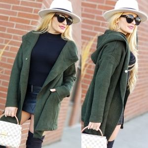Olive Green Hooded Cardigan
